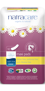 Natracare Night Time Maxi Pads organic cotton cover