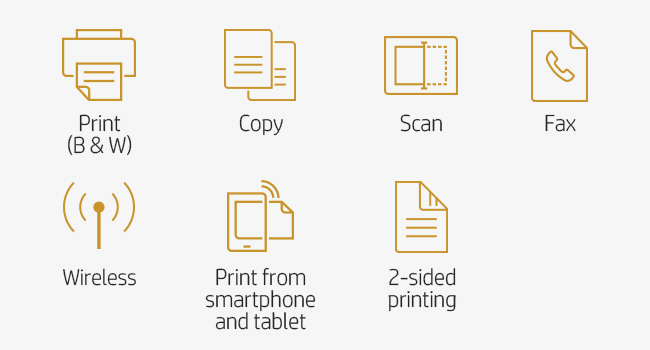 print B&W scan copy fax Wi-Fi 802.11 two-sided printing