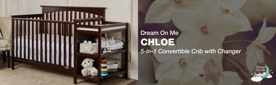 dream on me, cribs, full size, standard, 5 in 1 convertible, toddler bed, day bed, chloe, changer