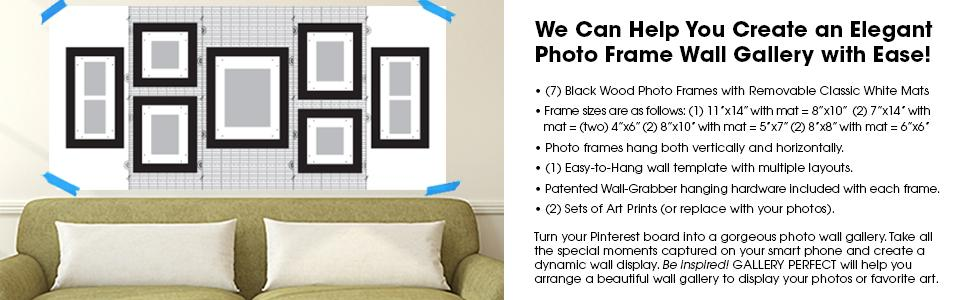 Gallery perfect 7 piece black wood photo for Picture hanging template kit