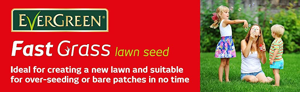 EverGreen Fast Grass Lawn Seed - Ideal for creating a new lawn and suitable for over-seeding