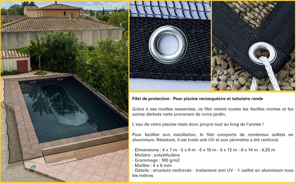 Filet de Protection Piscine Pour Piscine Rectangulaire 6 x 12 m WerkaPro 10875 Noir