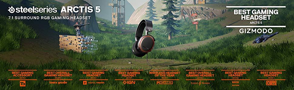 SteelSeries 61504 Arctis 5 Siyah (2019 Edition) RGB Gaming Kulaklık - DTS Headphone:X 7.1 for PC,PS4