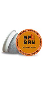 sf bay coffee, coffee k cups, compostable coffee pods, single serve pods, medium roast coffee