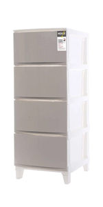 HOUZE 4 TIER 'KNOCK DOWN' COMPACT CABINET (GREY)