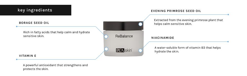 rebalance vitamin e vitamins niacinamide evening primrose oil calms calm sensitive skin hydrate