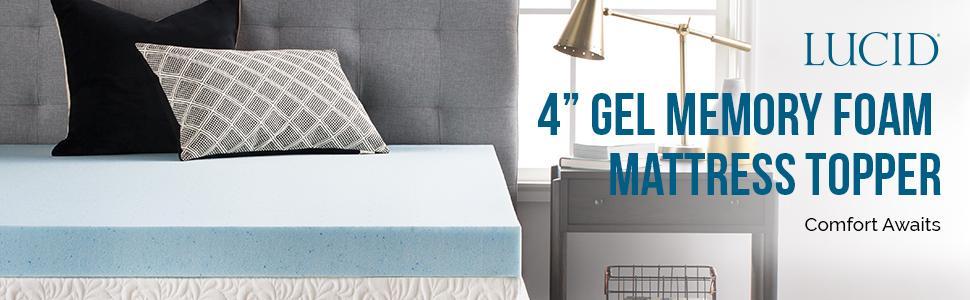 44b3a789c24 Amazon.com  LUCID 4 Inch Gel Memory Foam Mattress Topper Queen  Home ...