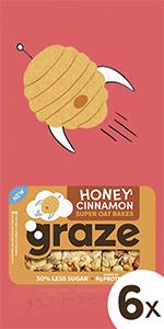 graze honey cinnamon super oat bakes havermoutrepen| 6 x 57 gram
