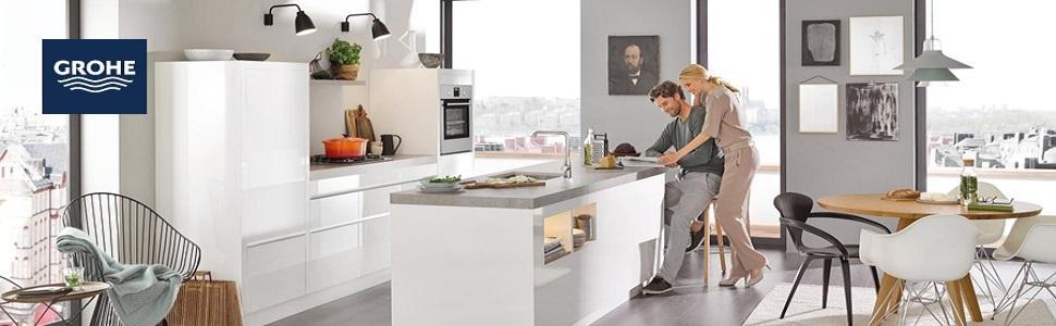 grohe start loop k che sp ltischarmatur hoher auslauf schwenkbereich 360 31374000. Black Bedroom Furniture Sets. Home Design Ideas