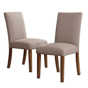 Dorel Living Linen Parsons Chairs 2 Pack Taupe