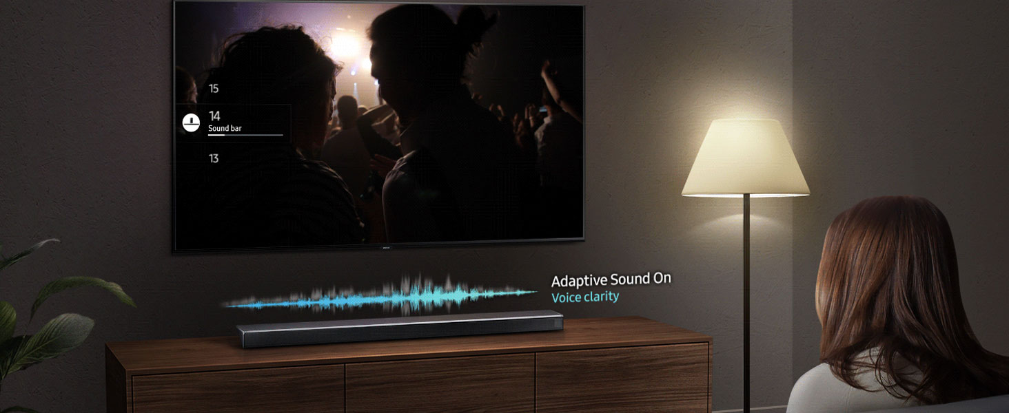 Samsung Q60R Soundbar with sound wave above it