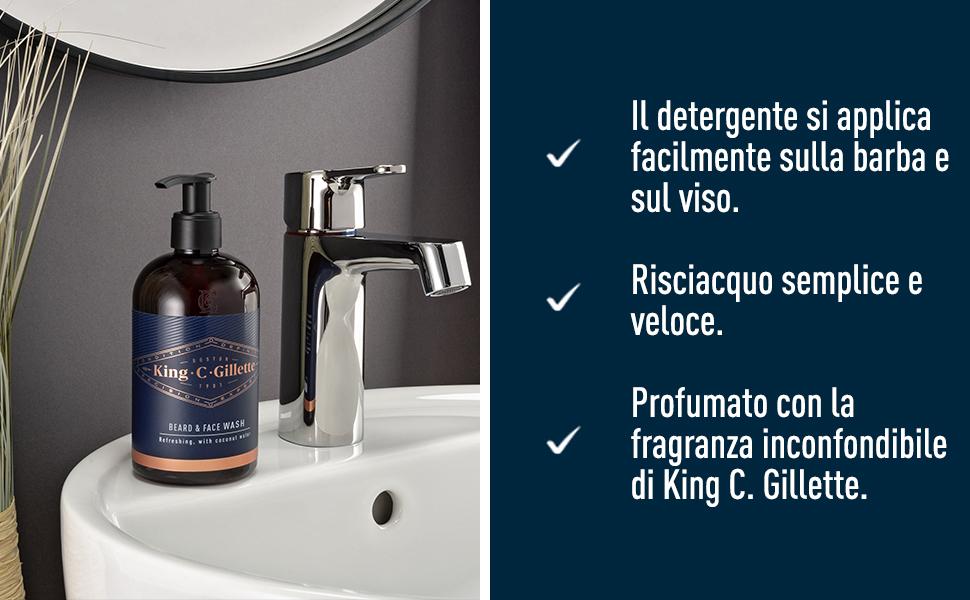 il detergente si applica facilmente sulla barba e sul viso