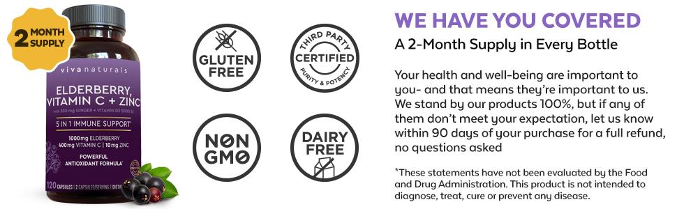 elderberry vitamin c zinc gluten free non gmo dairy free 2 month supply viva naturals
