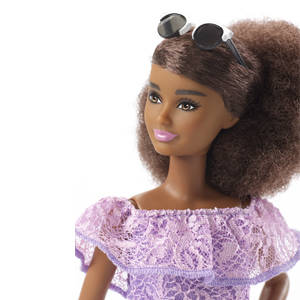 4af987da944  Petite Barbie Doll 93 with Curly Brunette Hair Wearing Purple Lace Dress
