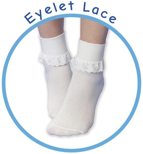 Jefferies Socks Big Eyelet Turn Cuff//Fancy Lace Girls Socks 3 Pack