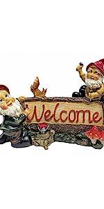 gnome welcome sign, gnome sign, gnome welcome, garden sign, welcome sign, garden statue, garden