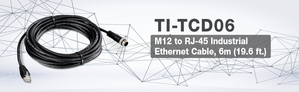 TRENDnet M12 to RJ-45 Industrial Ethernet Cable IP68 TI-TCD02 2M 6.5 ft. Compatible with TI-TPG80 Industrial Switch