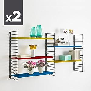 Metaltex - Estantería modular, metal, 3 estantes, 70 x 21 x ...