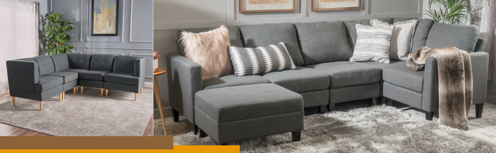 Christopher Knight Home Windsor Living Room | 2 Piece Chaise Sectional Sofa | Scandinavian, Mid Century Design | Dark Grey Fabric