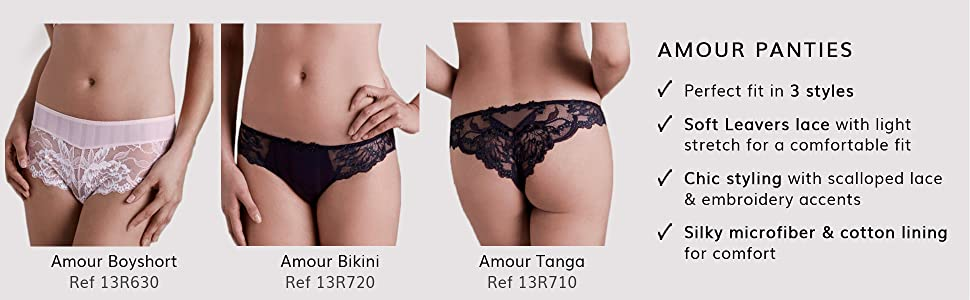 Simone perele, amour panties, 13R630, 13R720, 13R620, boyshort, bikini, tanga, French lingerie