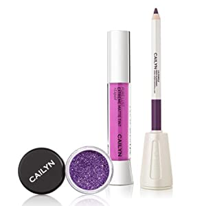 Cailyn Matte to Glitter Lip trio lilac purple holiday makeover