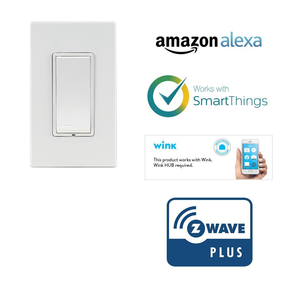 Leviton DZ15S-1BZ Decora Smart Switch with Z-Wave Technology, White/Light Almond - - Amazon.com