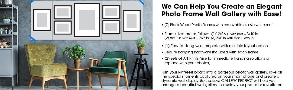 Amazon.com - GALLERY PERFECT 7 Piece Black Photo Frame Wall ...