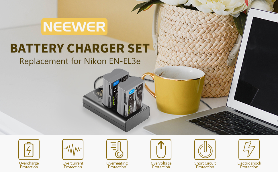 Neewer 2 Packs 2100mAh Battery Replacement for Nikon EN-EL3e Battery and Dual USB Charger with LCD Display Compatible with Nikon D50 D70 D70s D80 D90 D100 D200 D300 D300s D700 Digital SLR Cameras