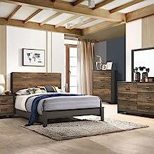 Oak & Gray Queen Bed