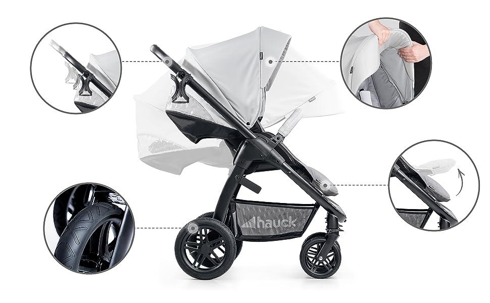 Wild Blooms Hauck Saturn R Duoset All-Terrain Sportwagen Getr/änkehalter bis 25 kg Beindecke Babywanne kompakt faltbar kompatibel mit Babyschale drehbar h/öhenverstellbar