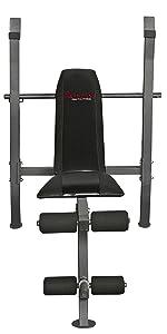 Sunny Health & Fitness Adjustable Weight Bench · Sunny Health & Fitness OB-60 Olympic Bar, Medium/60