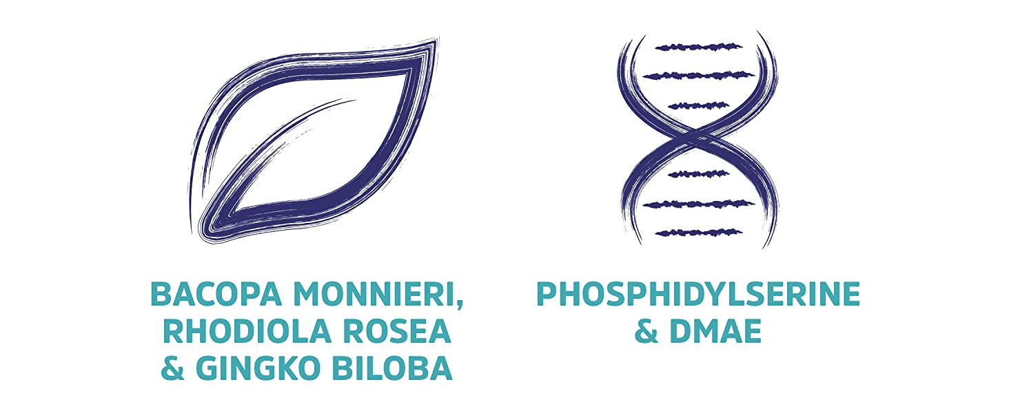 Bacopa monnieri, rhodiola rosea, gingko biloba, phosphidylserine and DMAE