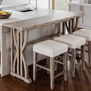 fairview distressed acacia barstool table set jofran