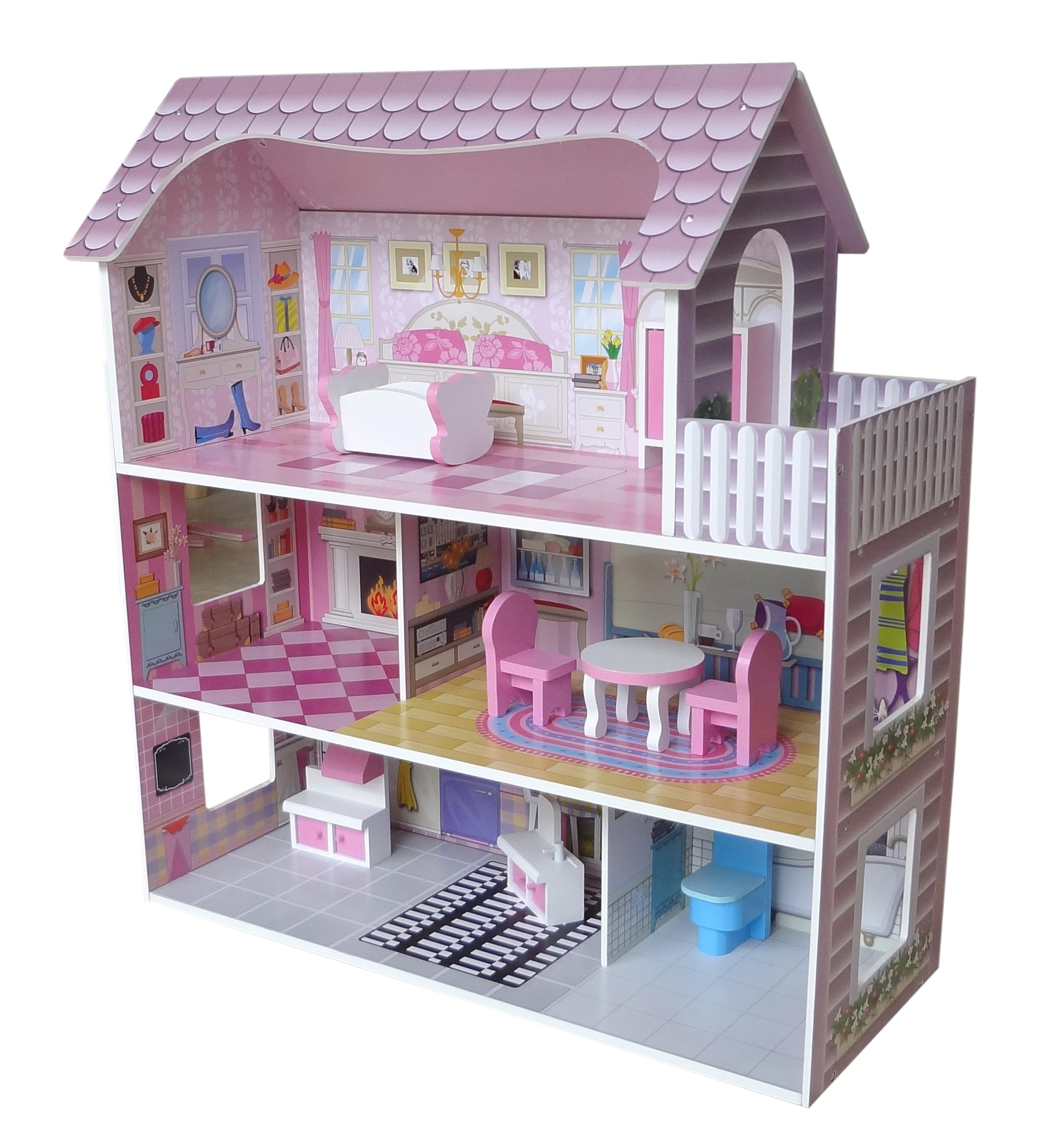 bebe style wooden large victorian wooden doll house with. Black Bedroom Furniture Sets. Home Design Ideas