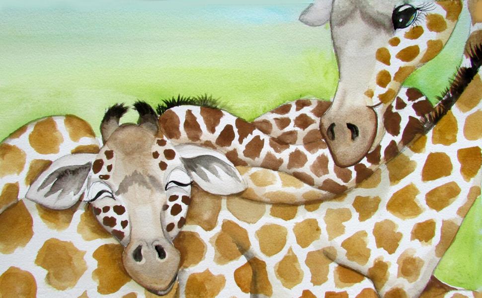 Sleeping giraffes