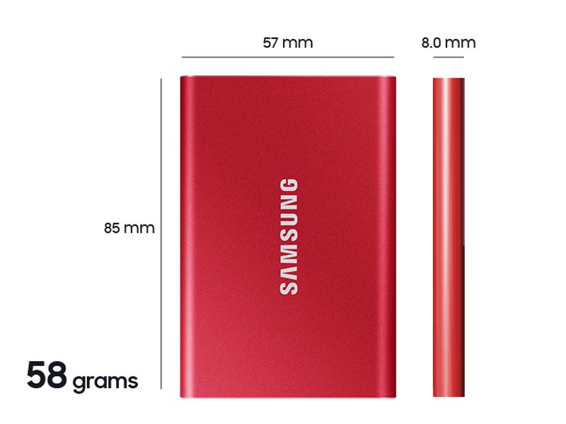 Layers of the Samsung T7 Portable Solid State Drive dimensions diagram