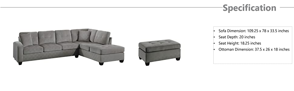 Amazon.com: Homelegance - Sofá seccional de 2 piezas de ...