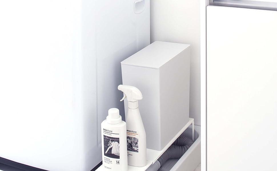 山崎実業 伸縮 洗濯機 横 排水口 上ラック  プレート ホワイト 4969