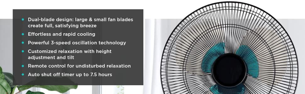 Rapid Cooling, Oscillating, tilt, adjustment, remote control, auto shut off timer
