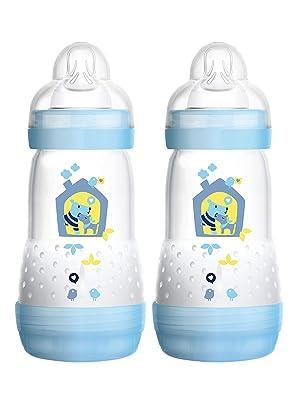 260 ml Delphin Baby Trinkflasche mit Sauger Gr/ö/ße 1 Babyflasche mit Bodenventil gegen Koliken grau MAM Easy Start Anti-Colic Babyflasche ab der Geburt