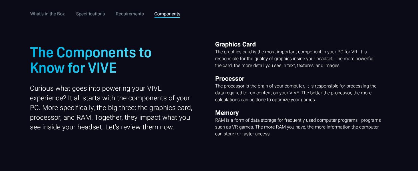 VIVE, VR, VIVE Cosmos, VIVE Cosmos Elite, Elite, Components, GPU, Processor, Memory, Graphics Card