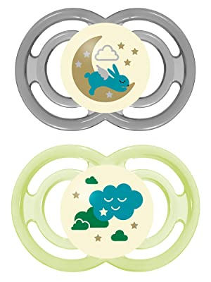 Mam Glow In The Dark Pacifiers, Baby Pacifier 16+ Months, Best Pacifier For Breastfed Babies, Premium Comfort And Oral Care Perfect Night ...