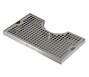 """Kegco DP-920 12"""" x 7"""" Stainless Steel Drip Tray with 3"""" Cut-Out"""