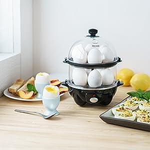 egg cooker stainless steel dishwasher safe compact 12 poached omelet salad scrambled deviled boiled