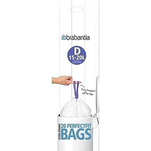 perfectfit bags; brabantia bin liners; bin bags; waste bags 15L; waste bags brabantia bin; brabantia