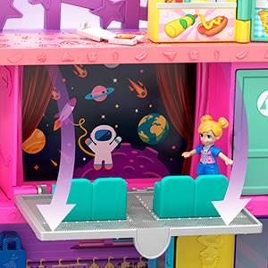Polly Pocket- Mega Mall, Playset Centro Commericale con Due Bambole, Ascensore e Accessori