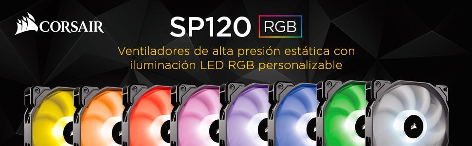 Corsair SP120 RGB - Ventilador de PC (120 mm, iluminación LED RGB), Paquete Individual: Amazon.es: Informática