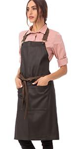 Chef Works Unisex Boulder Bib Apron, Brown/Black