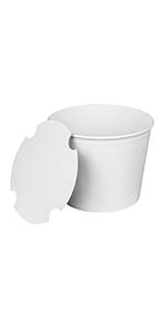 Karat  85 oz White  Food Buckets With Paper Lids