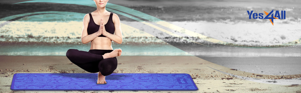 "Yes4All Eco Friendly 100% TPE Yoga Mat 6mm (72"" x 24"") – Multi Color Available & 2 Anti-Slip Layers"